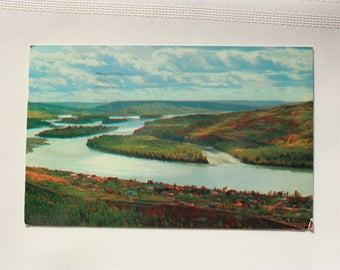 Peace River  Postcard  1950's / vintage Peace River Alberta / with stamp, dated 1957 /  Alberta Postcard / Smith Litho Ltd