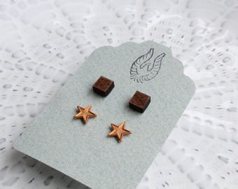 Square & Vintage Star Stud Earring Set