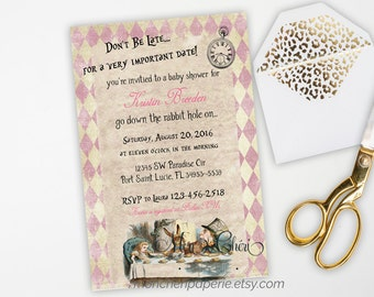 alice in wonderland baby shower invitation vintage baby shower invitation