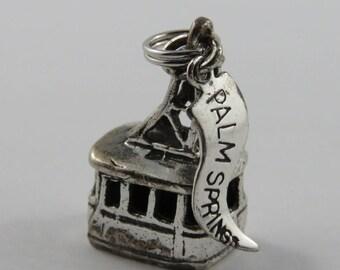 Ski Gondola With Palm Springs Tag Sterling Silver Vintage Charm For Bracelet