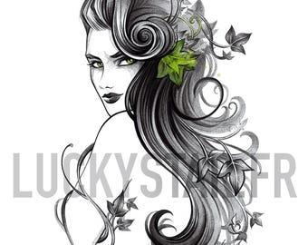 Poison Ivy / Digital Illustration / original gift idea / birthday / Art / table / Christmas / poster / home Decoration / drawing