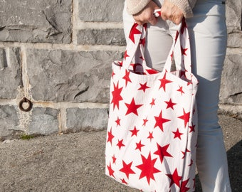 Oversized shoulder  bag market bag, Summer Tote Beach bag, Reusable market grocery bag, Stars tote bag American tote, 4th July Overnight bag