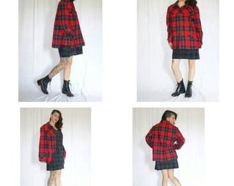 Vintage Pendleton Plaid Wool Jacket/ Red Green & Blue Plaid Wool Button up Pendleton Jacket Coat/ Red Plaid Cape Style Wool Jacket Coat