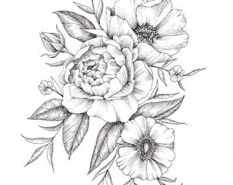 Flower Ink Drawing - A4 and A5 Prints