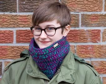 Super Cozy Crochet Multicolour Cowl Neck Warmer Scarf Green and Purple