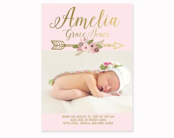 Baby Girl Birth Announcement Faux Gold Foil and Pink Floral Baby Announcement Card, Printed Announcement