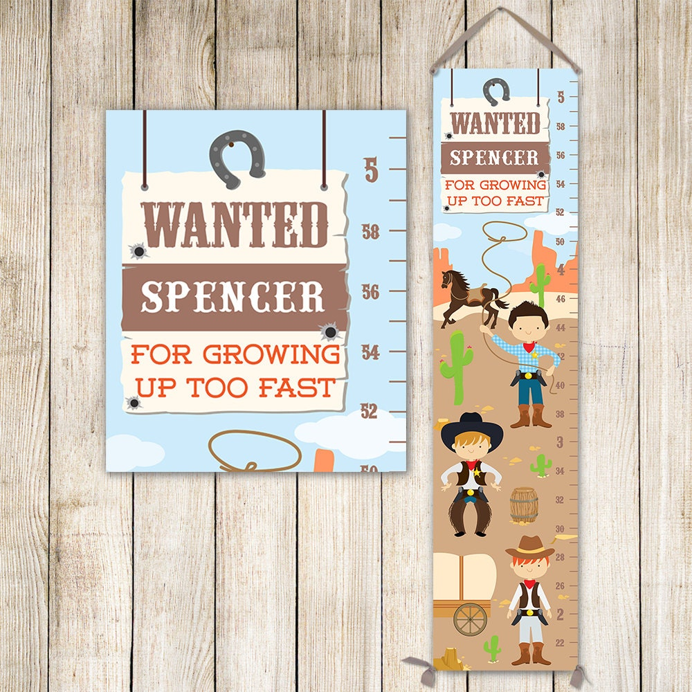 Cowboy growth chart personalized canvas western kids art cowboy jolieprints nvjuhfo Gallery