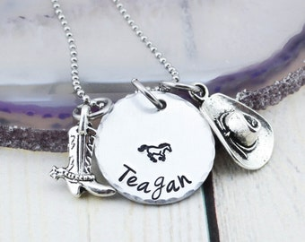Horse Necklace - Personalized Cowgirl Necklace - Horse Jewelry - Equestrian Jewelry - Birthday Gift for Horse Lover - Hand Stamped Jewelry