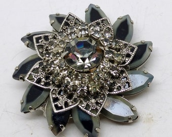 Vintage Silver Tone and Clear Rhinestone Rosette Brooch