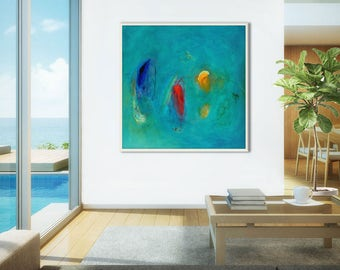 Large abstract print giclee, teal, blue, minimalist print, large blue abstract painting print, abstract art large, painting print turquoise