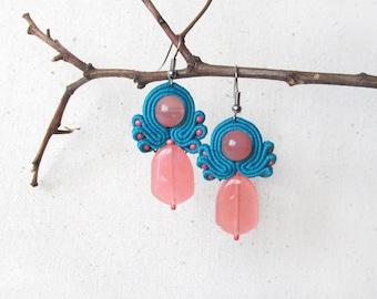 Pink blue earrings Cute earrings Dainty earrings Pretty earrings Blue pink gift Daughter jewelry Gift under 20 Romantic gift  jewelry woman