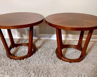 Mid Century Lane Circular Pair of Side Tables