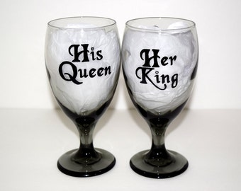 King queen wine   Etsy