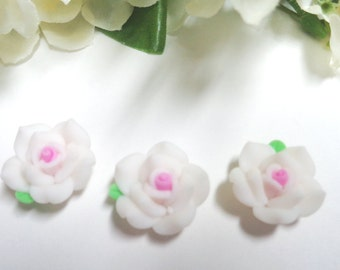 6 Flowers 20mm, Polymer Clay, White Roses, Hole 1mm