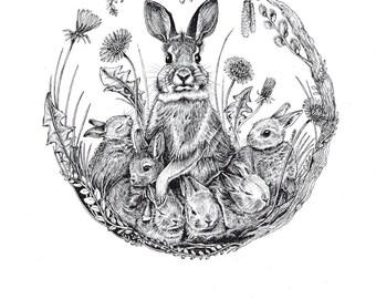 Mini-Artprint, Rabbits, Easter, 300g, Fineliner