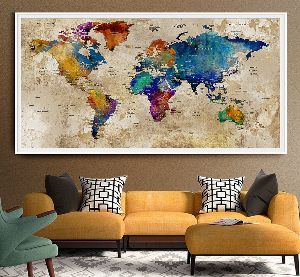 Push Pin World Map LARGE Wall Art World Map by FineArtCenter