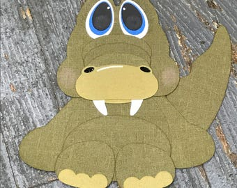 Baby Zoo Animal Alligator Handmade Cut Out Paper Scrapbook Embellishment Gift Package Tag