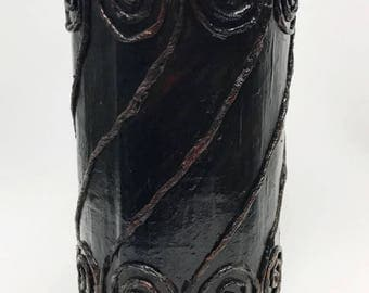 Black Flower Vase, Rustic looking, vintage looking, Wood like, Home decor, vase, Paper- mache Vase, Textured Home Decor, Country style decor