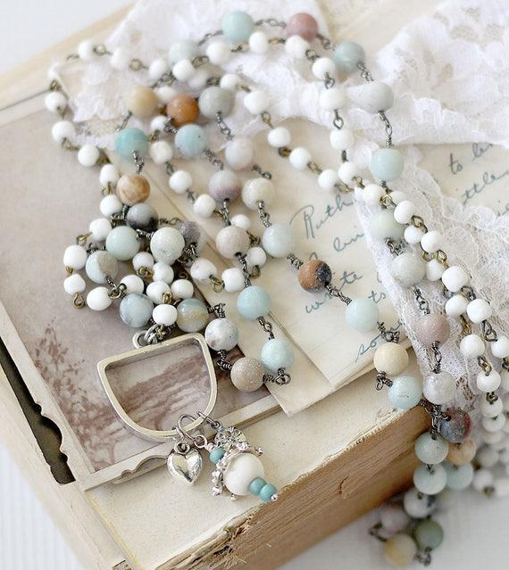 Double Wrap Beaded Necklace - Boho Beaded Statement Necklace - Long Statement Pendant - Pendant Gift for Best Friend  - Amazonite Chain