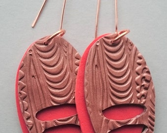 Copper and orange polymer clay earrings