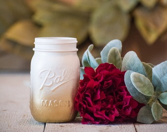 Gold and White Centerpiece Mason Jar Wedding Party Vase Glitter Rustic Farmhouse Decor Painted