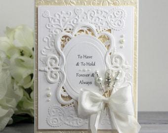 Wedding Wishes Card - Wedding Card - Wedding Card for Daughter - Wedding Congratulations - Luxury Wedding Card - Fancy Handmade Card