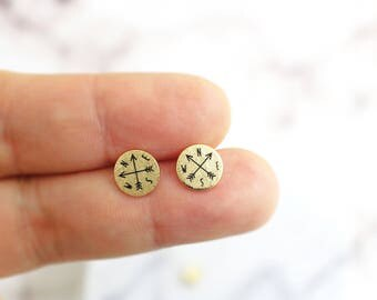 Gold Tiny Compass Studs Earrings ,Gold  Post Earrings, Compass Earrings, Dainty Compass Earrings