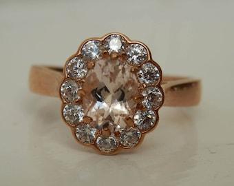 9 Carat Rose Gold Morganite Ring