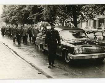 Funeral procession oldtimer hearse - vintage photo - death, burial mourning - black and white photo