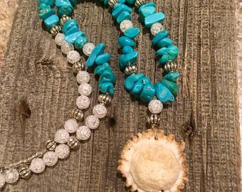 Turquoise Antler Burr Necklace