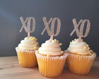 Gold Glitter XO Cupcake Picks - XOXO Party