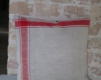 pillow from antique linen: thick red stripes / 40*40cm