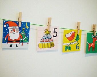 Printable Christmas Advent Calendar | PDF download | Kids Craft, Christmas,Animals,DIY calendar/ Nursery, Paper craft, Cut outs, Decoration
