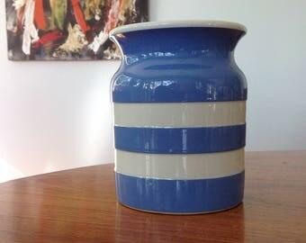TG Green Cornishware large vintage canister - blue white stripe - shabby chic