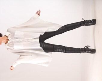 White Shirt, Chiffon Blouse, Plus Size Blouse, Cape Top, Asymmetrical Blouse, Loose Blouse, Wedding Top, Boho Shirt, Avant Garde Shirt