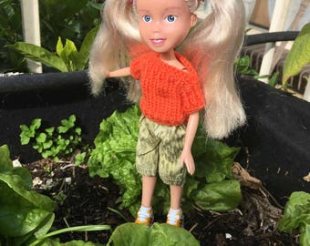 Back to Natural Doll No.29 recycled, OOAK, hand painted, hand knitted, and clothed. Made Down