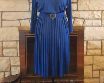 1980s Cobalt Blue Pleated Skirt Dress Size L/XL