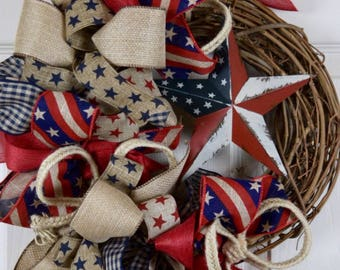 Rustic Americana Star Grapevine Wreath; Country Primitive Rustic Patriotic Door Decor Wreath; Fourth of July Memorial Day Labor Day Wreath