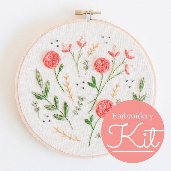 Floral burst embroidery kit do it yourself