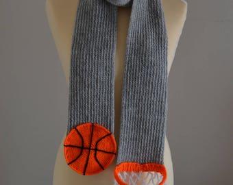 Knit Basketball Scarf Sports Scarf Gray
