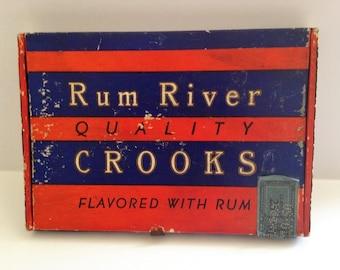 Vintage Cigar Box Rum River Brand Crooks, Slim Cigar Box 1950 Cigar Box Collectible Storage Décor Staging Prop Tobacciana Vintage Cigar Box