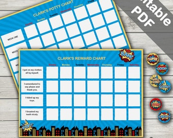 Superhero Reward Chart/Superhero Potty Chart/Superhero Chore Chart. Printable Superhero Reward Stickers.  Editable. Instant Download.