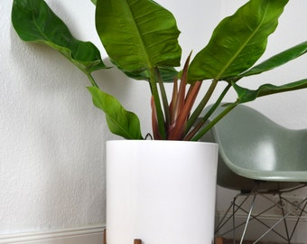 "12.6"" XXL Low Mid Century Planter Architecture Pottery Plant Stand Flower Pot Retro Vintage Walnut"