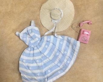 1960s Barbie Clothes  #969 Suburban Shopper // Vintage Doll Clothing Set Blue Dress Hat Pink Telephone