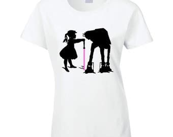 Womens T-shirt Jedi Girl Tames At-at- Imperial Walker Star Wars Rogue One Starwars