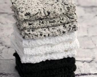 Cotton Dish Cloths - Handmade Wash cloths in Black, White & Gray - Cotton Wash Cloths - Crocheted Flannel Gift Set