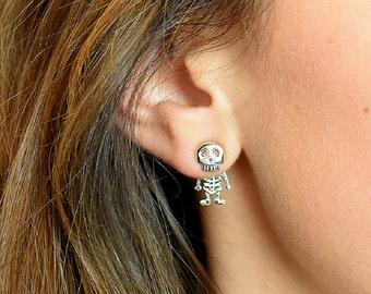 Sterling Silver Skeleton Studs - Skeleton Earrings - Halloween Earrings - Fancy Dress Earrings - Scary Studs - Gifts for Teens [SSJE010]