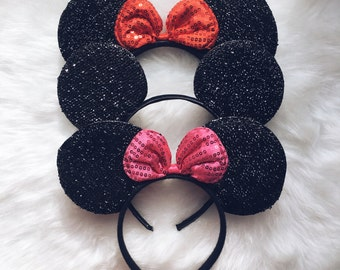 Mouse Ears, Minnie Mouse Ears, Mickey Mouse Ears, Disney Ears, Bachelorette Ears, Costume Ears, Ears Headband, Black Mickey Ears, Party Ears