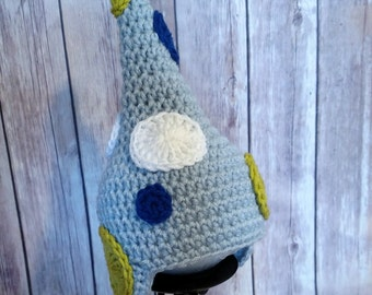 Crochet Garden Gnome Baby Boy Hat with Earflaps
