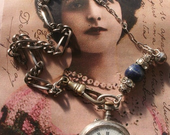 Antique assemblage necklace, Antique watch assemblage, Vintage Assemblage necklace, old pocket watch, silver pocket watch, unique necklace,